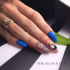 36 Ideas For Nails Gel Design Classy Shape Matte Nails, Blue Nails, My Nails, Acrylic Nails, Polish Nails, Oval Nails, Spring Nail Art, Spring Nails, Animal Nail Art