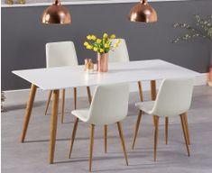 Sleek, chic and contemporary: the Malmo Matt White Dining Table with Halifax Faux Leather Wooden Leg Chairs will give any room you place it in an instant style update. This dining set with faux leather dining chairs seats up to 8 people. Buy Dining Table, Oak Dining Sets, Mid Century Dining Table, Corner Dining Set, Round Dining Set, White Dining Table, Extendable Dining Table, Dining Room, Oak Table Top
