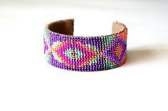 geometric neon loom woven seed bead cuff