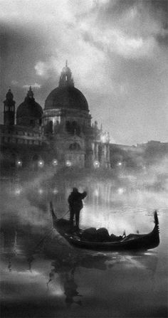 ☾ Midnight Dreams ☽  dreamy & dramatic black and white photography - Venice By Night by Per Valentin