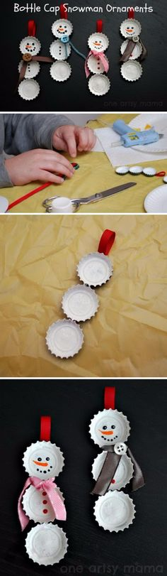 DIY Bottle Cap Snowmen Ornament.