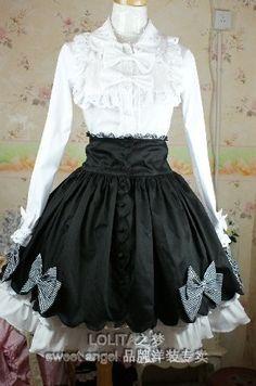 (Replica)Black Floral Bows Lolita Skirt
