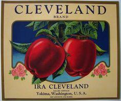 AC CLEVELAND Vintage Yakima Washington Apple Crate Label