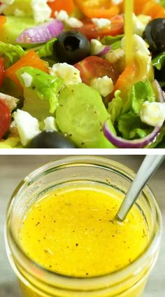 Greek Salad Recipes, Salad Dressing Recipes, Indian Food Recipes, Recipe For Greek Salad, Dressing For Greek Salad, Authentic Greek Salad Dressing, Greek Salad Recipe Authentic, Salad Dressings, Ethnic Recipes