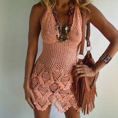 Handmade crochet dress boho dressbeach dress 11 colors. by PadMa88