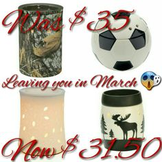Crystal Woods, Goal, Mossy Oak, Yukon all leave you March 1, 2017!!! 10% discount in February. Discount does not apply to Mossy Oak. rhodeswickless.scentsy.us