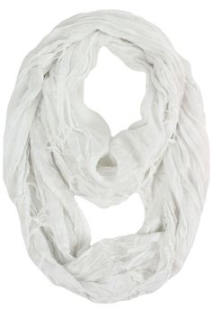 White Crinkled Infinity Scarf