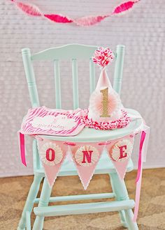 Girly & Pink First Birthday Party Blue Birthday Parties, Baby Girl 1st Birthday, Birthday Bash, Birthday Ideas, Birthday Decorations, Birthday Chair, Birthday Garland, Bday Girl, Pink Birthday