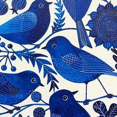 Art Inspiration: Beautiful blue bird pattern -illustration by Geninne D Zlatkis on Instagram.