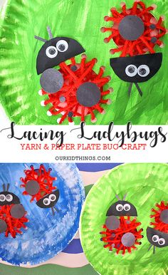 Paper Plate Lacing Ladybugs Craft #spring #bugs #kids #lacingcraft #paperplacecraft #kidcrafts
