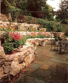 terraced garden beds--my front yard Landscaping A Slope, Landscaping With Rocks, Landscaping Ideas, Sloped Backyard, Sloped Garden, Hillside Garden, Terrace Garden, Tiered Garden, Garden Steps