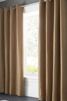 Buy Woven Geo Jacquard Eyelet Curtains from the Next UK online shop Types Of Curtains, Curtains With Blinds, Copper Living Room, Geometric Curtains, Curtain Shop, Front Rooms, Lined Curtains, Bedroom Themes, Next Uk