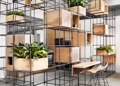 Steel rebar forms storage system at Toronto kitchen showroom