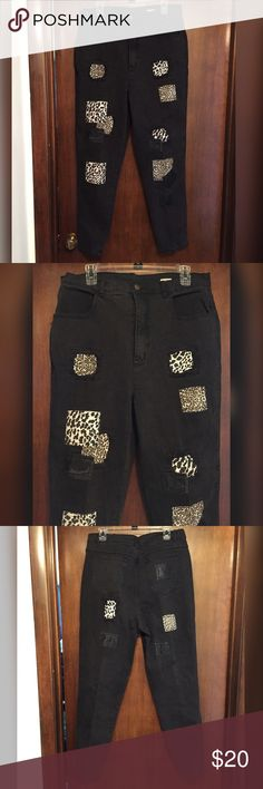 "Black Jeans w/Animal Print Patches These are a really cute pair of jeans. They are a black fade wash and have animal print patches. They are Steffano brand and a size 22. They are made from cotton and 2% other fiber and they have mild stretch. The inseam is 28.5"". They also have distressed looking faux leather patches. A really cute touch. Steffano Pants Skinny"