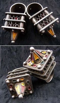 Africa   Berber Hair Ornaments from the Ait Akka tribe. Morocco. Tribal metal, enamel. Mid 20th century   © Liuba Berti ~ Amazigh