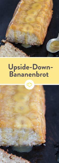 Einfach kopfüber aus der Form stürzen und den Geschmack von diesem fluffigen Upside-Down-Bananenbrot mit Karamellglasur genießen.