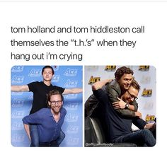 Funny meme about tom hiddleston and tom holland having the same initials Avengers Humor, Funny Marvel Memes, Dc Memes, Marvel Jokes, Funny Memes, Hilarious, Marvel Dc, Marvel Actors, Marvel Comics