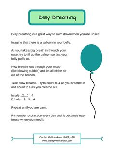 Handout to teach kids about deep breathing for relaxation. Great tool to help kids calm down when worried, angry, or hyper. Click to download the pdf!