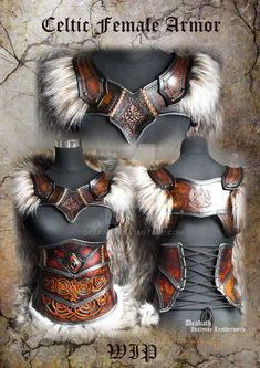 Celtic Female Armor set - WIP by Deakath on deviantART Lovely leather work, pity it fails the covering vital areas' test. Maybe over chainmail? and leather outfit Celtic Female Armor set - WIP by Deakath on DeviantArt Conquest Of Mythodea, Female Armor, Female Viking Costume, Celtic Costume, Female Cosplay, Warrior Costume, Cosplay Armor, Female Knight, Cosplay Dress