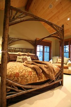 Rustic Master Bedroom with Carpet, can lights, High ceiling, double-hung window, Exposed beam
