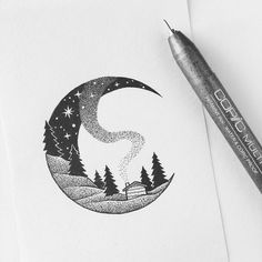 Love the style of Peta Heffernan's fineliner pen artwork. Particularly like the se of pointillism. -Inspiration for my own pen and ink artwork. Ink Pen Art, Ink Pen Drawings, Dotted Drawings, Sketchbook Drawings, Doodle Drawings, Easy Drawings, Doodle Art, Sketching, Cabin Tattoo
