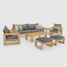RST Brands Benson Wood Patio Conversation Set with Bliss Blue – The Home Depot – Wooden Sofa Designs Wood Patio Furniture, Wood Sofa, Best Outdoor Furniture, Furniture Design, Modern Furniture, Antique Furniture, Outdoor Sofas, Furniture Market, Outdoor Seating