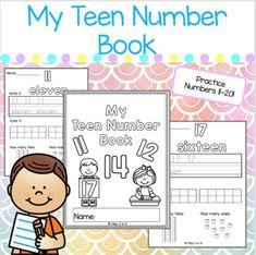Number Tracing, Teen Numbers, Tens And Ones, Book Names, Writing Numbers, Ten Frames, Kindergarten Activities, Math Centers, Teaching Resources