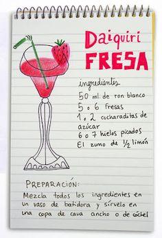 Receta cóctel Daiquiri de Fresa - Descubre Catabox - Packs Gin Tonic y Vino - El regalo perfecto para los amantes de las cosas buenas y bonitas