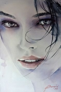 Art community for paintings & drawings only, created by Eren Mckay for those who love art. Watercolor Face, Watercolor Portraits, Watercolor Paintings, Realistic Pencil Drawings, Art Drawings, Woman Painting, Painting & Drawing, L'art Du Portrait, Art Visage