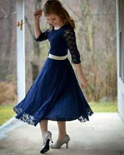 New Navy Blue Tea Length Cocktail Bridesmaid Dress Lace Evening Party Prom Gowns