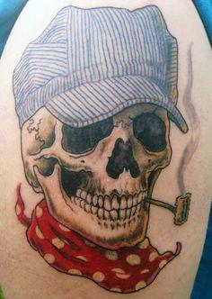 Skull train conductor tattoo #train  #trainconductor #tattoo #tattooart #blackand greytattoo #silverbackink #skulltattoo #skull #punk www.kreepykentucky.com  www.modernagetattoo.com
