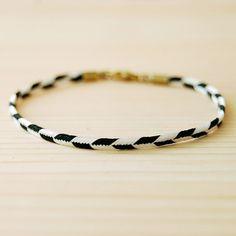 Chevron Bracelet in Black & White, The Lariat