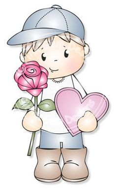 Digital Digi Josh with Rose Stamp Love Valentine by PinkGemDesigns