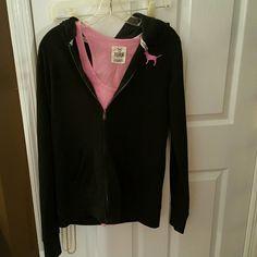 Victoria Secret Pink jacket and halter top Victoria Secret Pink black jacket with matching Pink pink halter top PINK Victoria's Secret Jackets & Coats