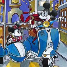 Mickey Mouse and Minnie Mouse and their Vespa Scooter. | #ScooterLove #Disney #VespaLove
