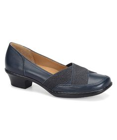 Look at this #zulilyfind! Navy Scarlet Leather Kitten Heel by Softspots #zulilyfinds
