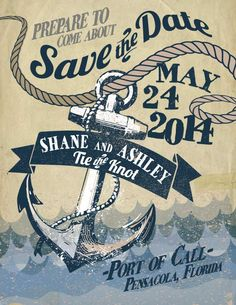 """Nautical Save the Date. Our wedding is located at a yacht club - So I've gone """"overboard"""" with that theme. heh, I kill myself with the puns. I'm gonna do a couple of different nautical ideas, this is the first one of its kind."""