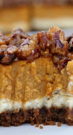Cheesecake Pumpkin Bars are made with both cheesecake and pumpkin pie all in one delicious fall dessert then topped with candied pecans. Source by Related posts: Easy Caramel Pumpkin Pie Cheesecake Dip Zutaten! Pumpkin Deserts, Pumpkin Bars, Pumpkin Pie Recipes, Fall Recipes, Fall Dessert Recipes, Dessert Party, Dessert Ideas, Dessert Shots, Yummy Treats