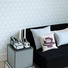 A perfect by Lassen mix:  Kubus 1, Line, Frame, Flow Wallpaper and Flow cusions.