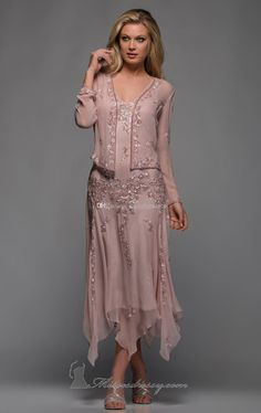 Wholesale New Scala A Line V Neck Long Sleeves Tea Length Mother of The Bride Dresses with Appliques and Beaded, Free shipping, $101.95/Piece | DHgate Mobile