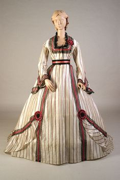 fripperiesandfobs:  Dress, late 1860's From the Kent State University Museum Pinterest
