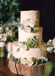 Cake on Rustic Tree-Trunk Stand
