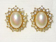 Christian Dior SIGNED Designer Couture Estate Pearl & Rhinestone Earrings Studs