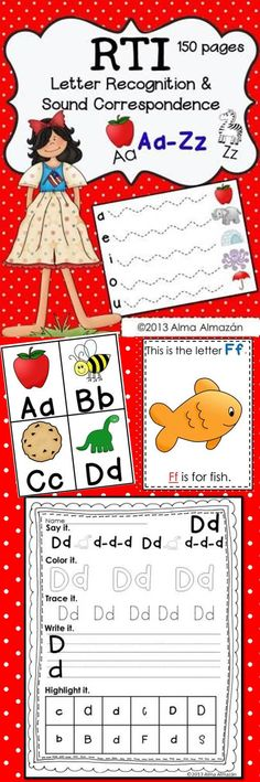 Included are 150 pages for RTI Letter Recognition and Sound Correspondence. Use the activities in this pack for small group, RTI, centers, or homework. Kindergarten Literacy, Early Literacy, Kindergarten Reading, Teaching Reading, Preschool Homework, Guided Reading, Learning Letters, Kids Learning, Literacy Activities