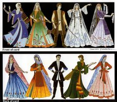 greeting card with traditional Armenian costumes
