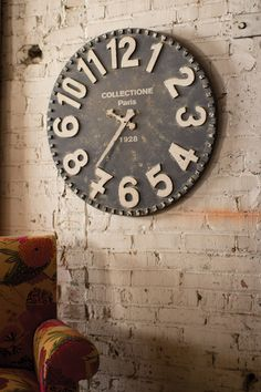 black and white wooden wall clock