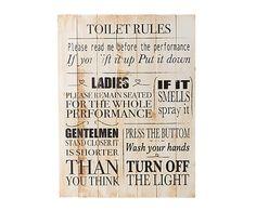 Impresión en listones de madera de pino Toilet - 45x60 cm