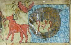 Leviathan, Behemoth and Ziz. From the Ambrosiana Bible, Ulm, A.D. 1238. (Biblioteca Ambrosiana (est. 1609) B 30, B 31, B 32; Milan, Italy.)