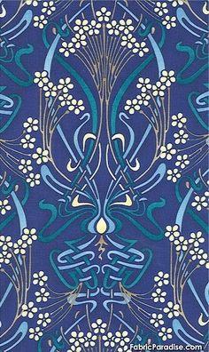 .Art nouveau indigo wallpaper design ( or textile? )