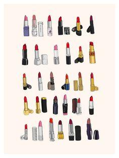 Pretty Lipstick Illustration for Bathroom Best Lipsticks, Drugstore Lipstick, Lipstick Brands, Fashion Art, Fashion Books, Fashion Prints, Illustration Art, Japanese Illustration, Make Up